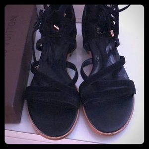 😎Isola Black Suede Strappy Sandals😎